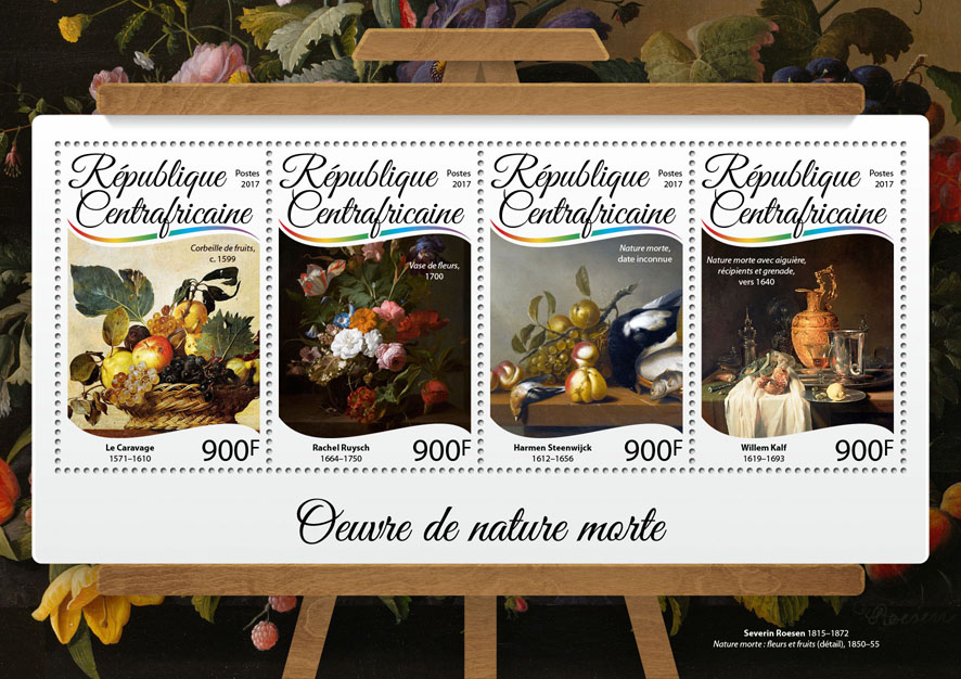 Still life paintings - Issue of Central African republic postage stamps