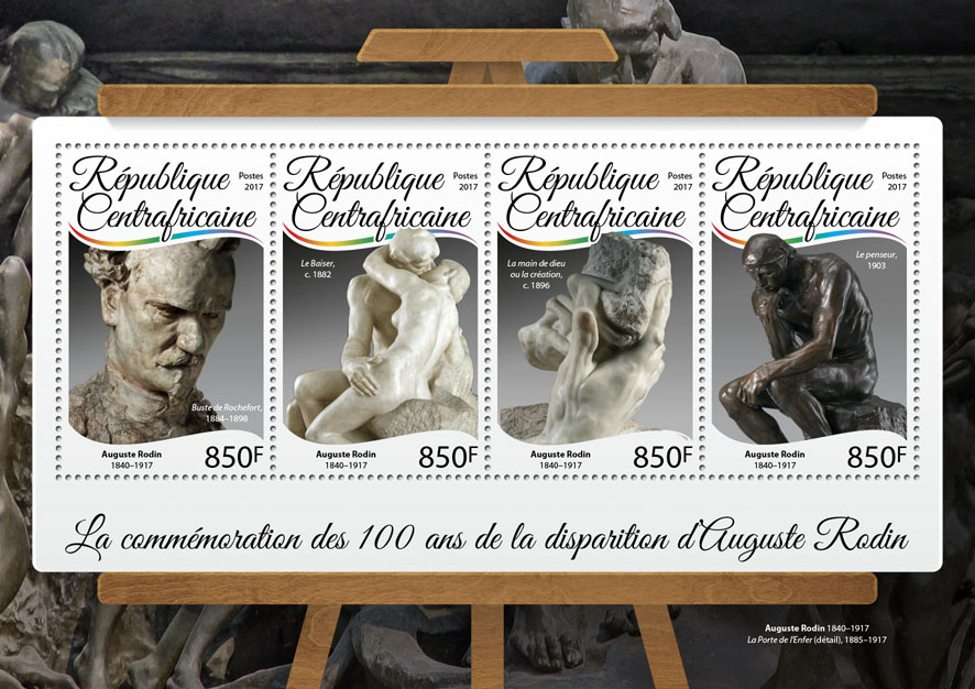 Auguste Rodin - Issue of Central African republic postage stamps