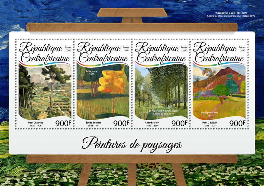 Paintings of landscapes - Issue of Central African republic postage stamps