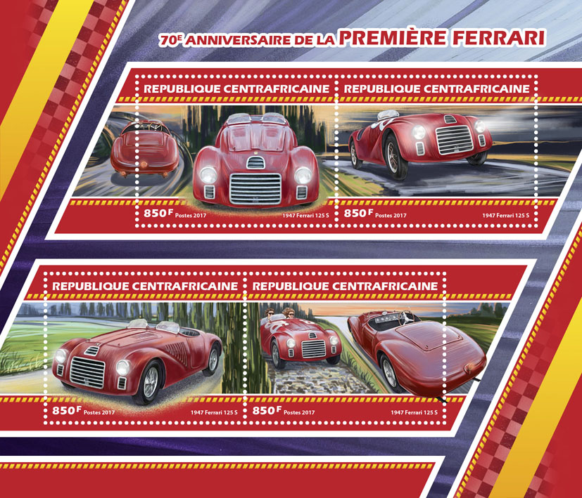 Ferrari car - Issue of Central African republic postage stamps