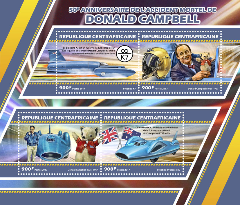 Donald Campbell - Issue of Central African republic postage stamps