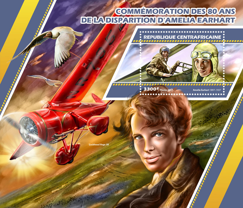Amelia Earhart - Issue of Central African republic postage stamps
