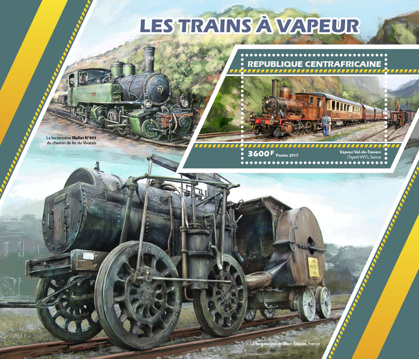 Steam trains - Issue of Central African republic postage stamps
