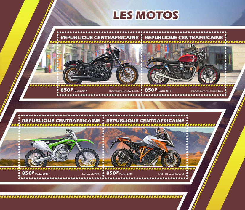 Motorcycles - Issue of Central African republic postage stamps