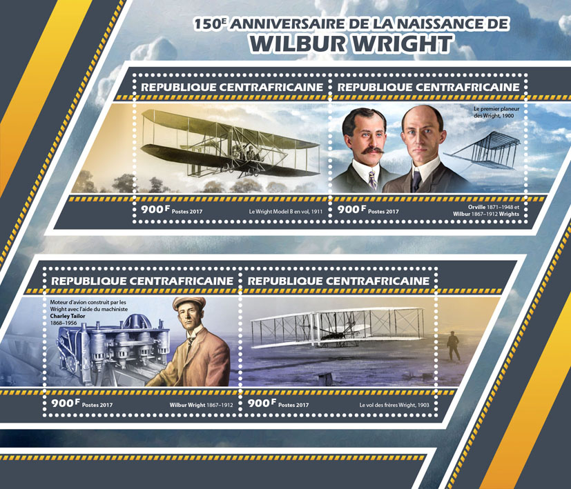 Wilbur Wright - Issue of Central African republic postage stamps
