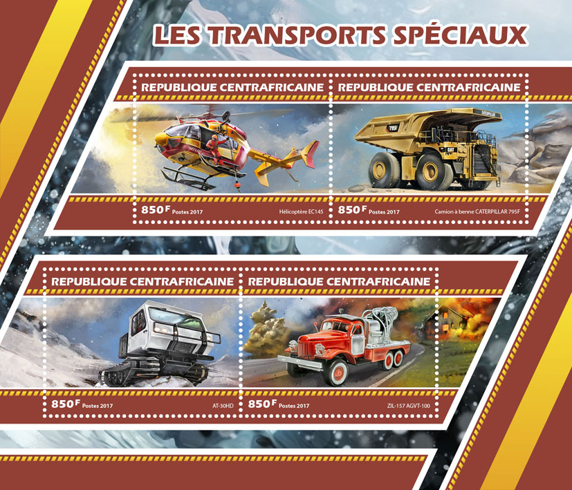 Special transport - Issue of Central African republic postage stamps