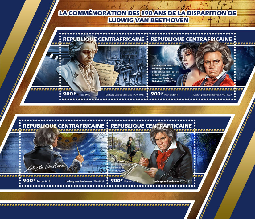 Ludwig van Beethoven - Issue of Central African republic postage stamps