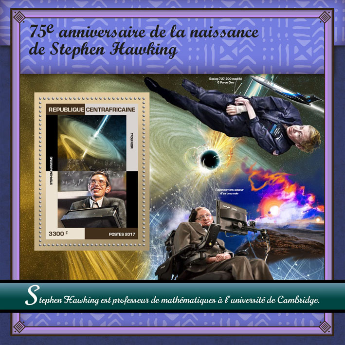 Stephen Hawking - Issue of Central African republic postage stamps