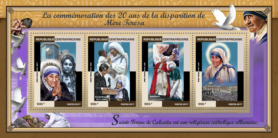 Mother Teresa - Issue of Central African republic postage stamps