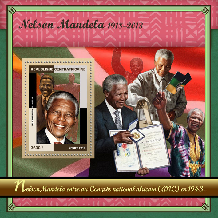Nelson Mandela - Issue of Central African republic postage stamps