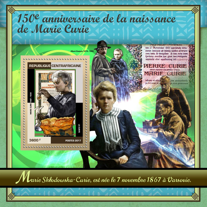 Marie Curie - Issue of Central African republic postage stamps