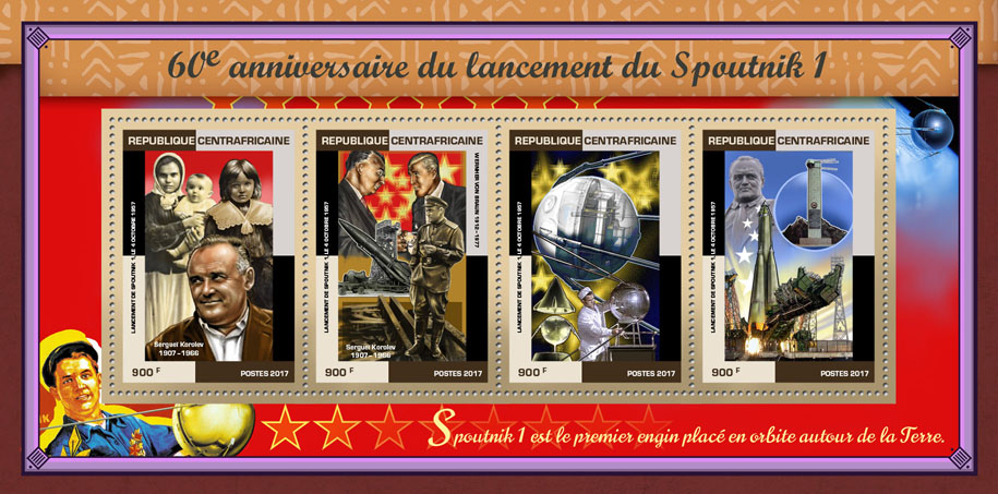 Sputnik 1 - Issue of Central African republic postage stamps