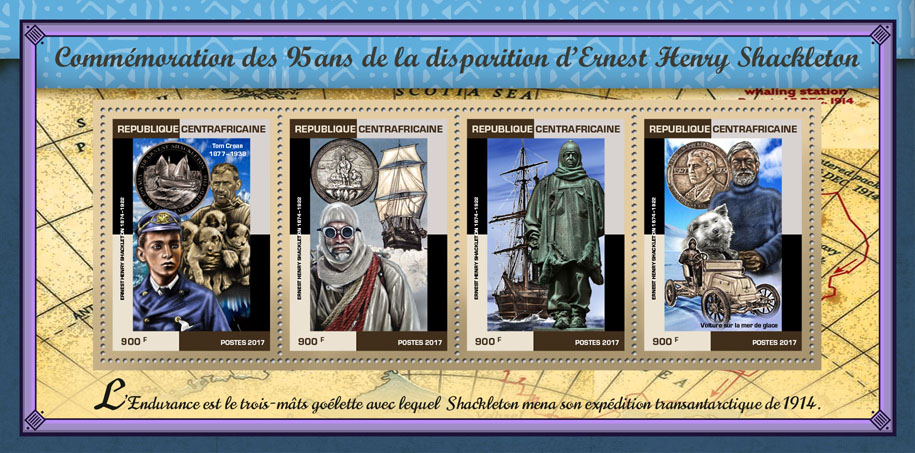 Ernest Henry Shackleton - Issue of Central African republic postage stamps
