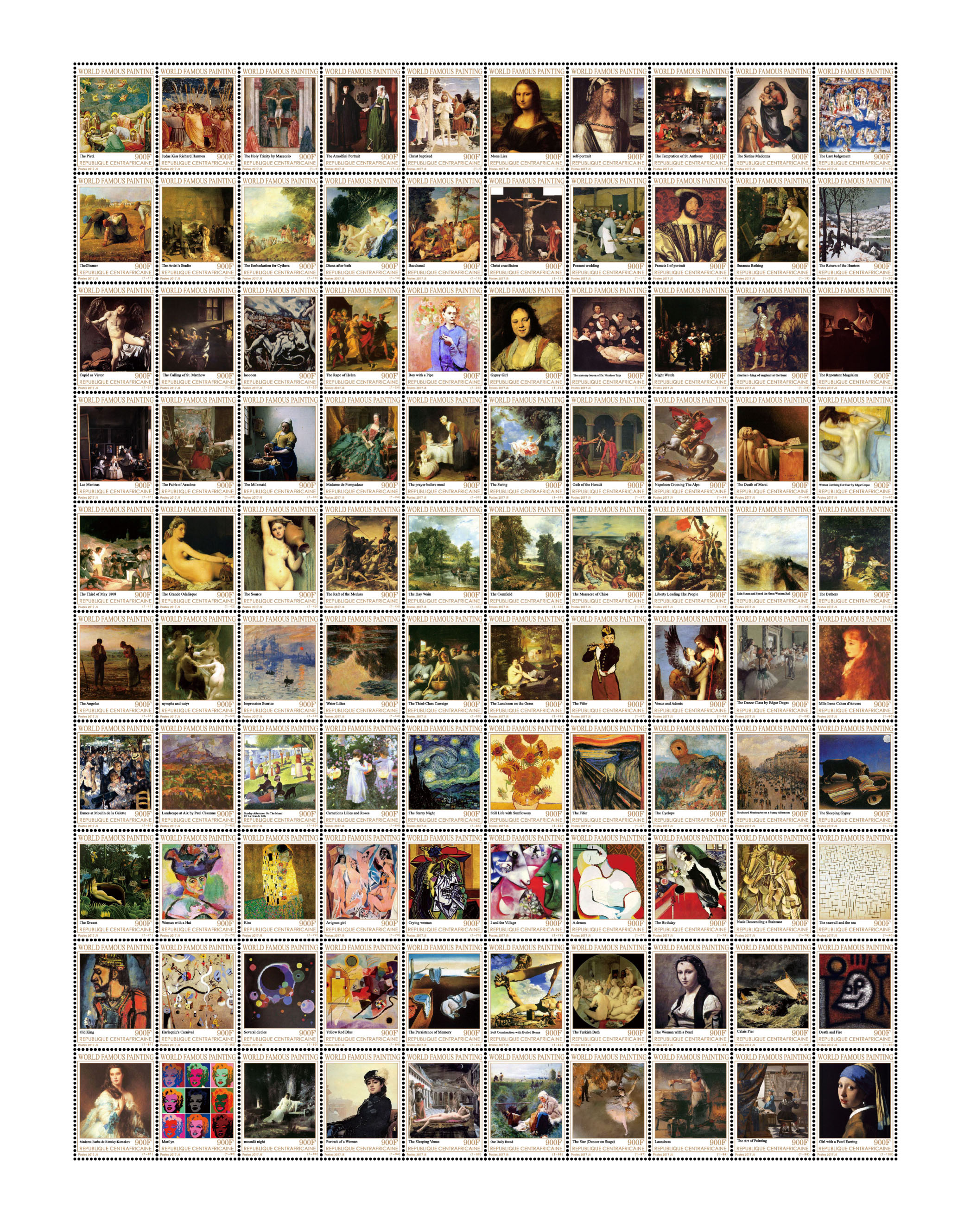 World famous paintings - Issue of Central African republic postage stamps