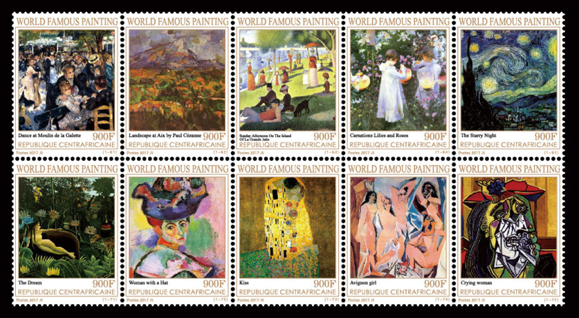 Paintings IV - Issue of Central African republic postage stamps