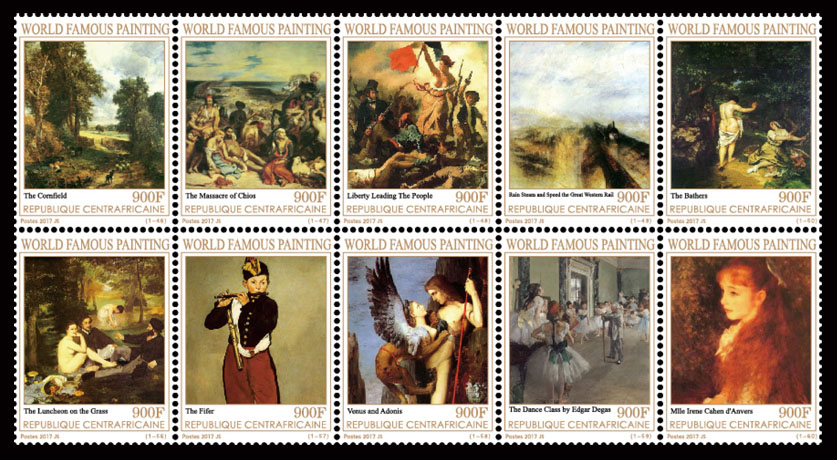 Paintings VIII - Issue of Central African republic postage stamps