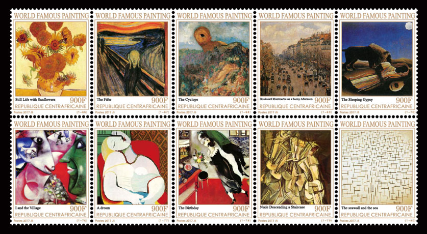 Paintings IX - Issue of Central African republic postage stamps