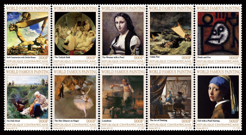 Paintings X - Issue of Central African republic postage stamps
