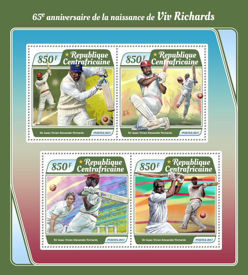 Viv Richards - Issue of Central African republic postage stamps