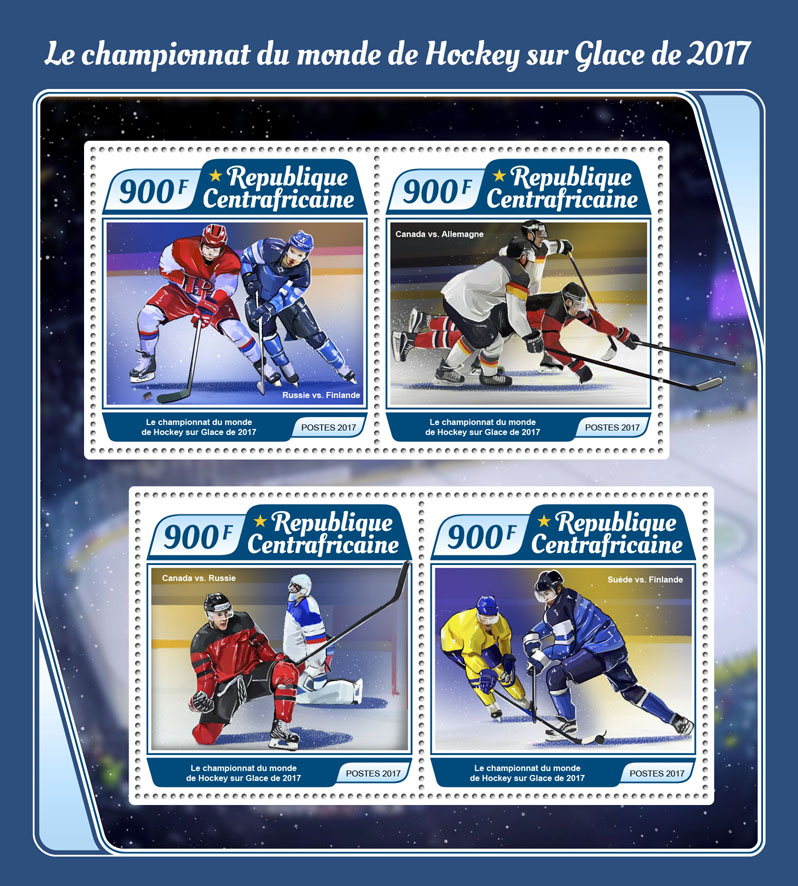 Ice Hockey - Issue of Central African republic postage stamps