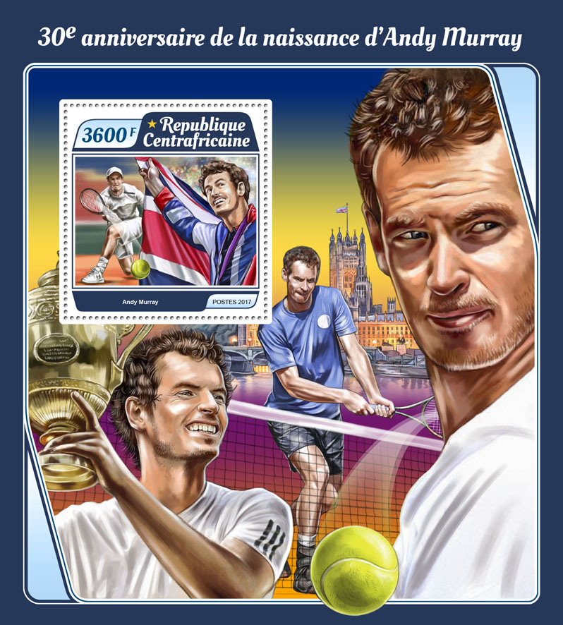Andy Murray - Issue of Central African republic postage stamps