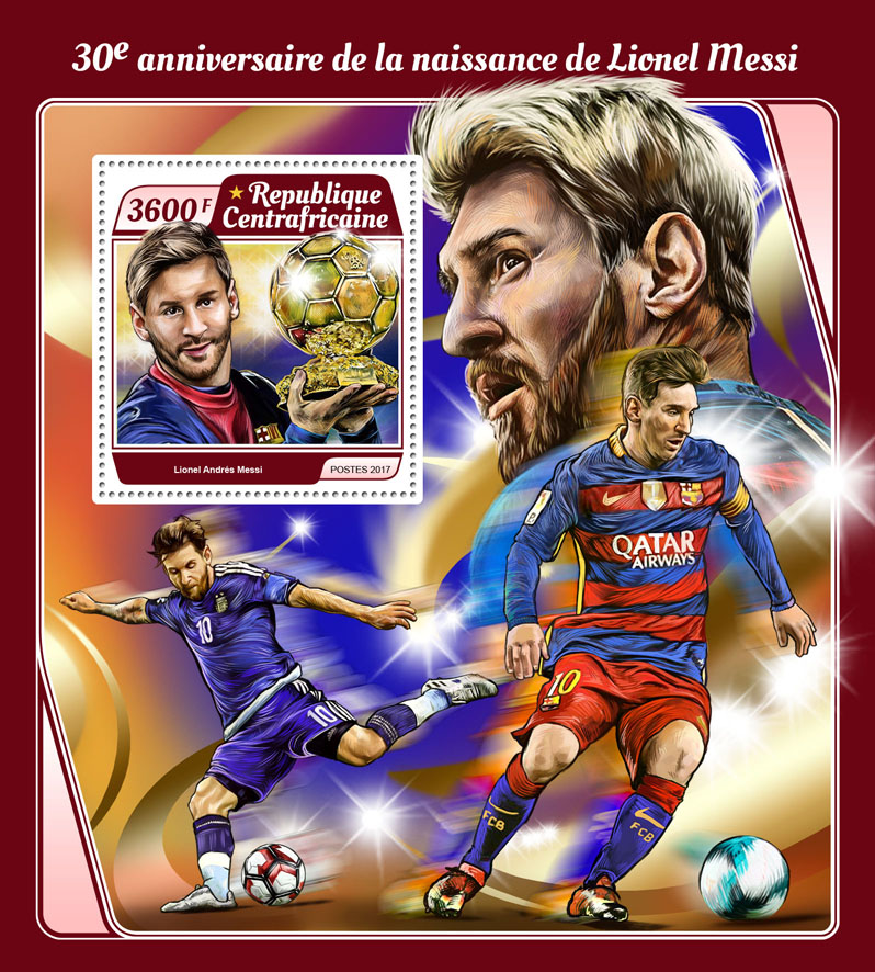 Lionel Messi - Issue of Central African republic postage stamps