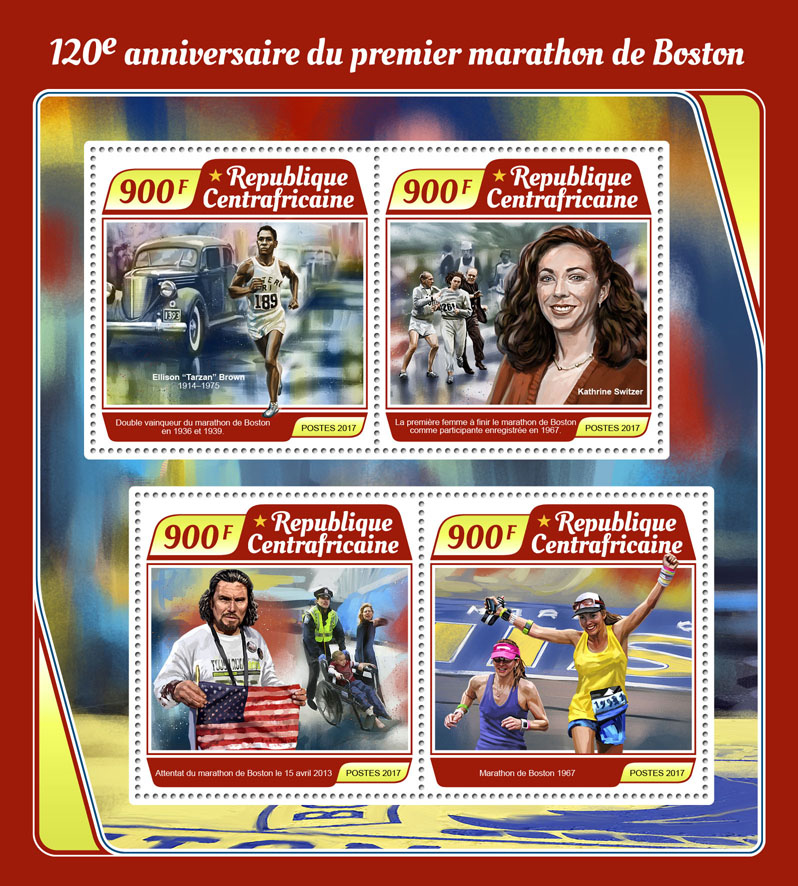Boston marathon - Issue of Central African republic postage stamps
