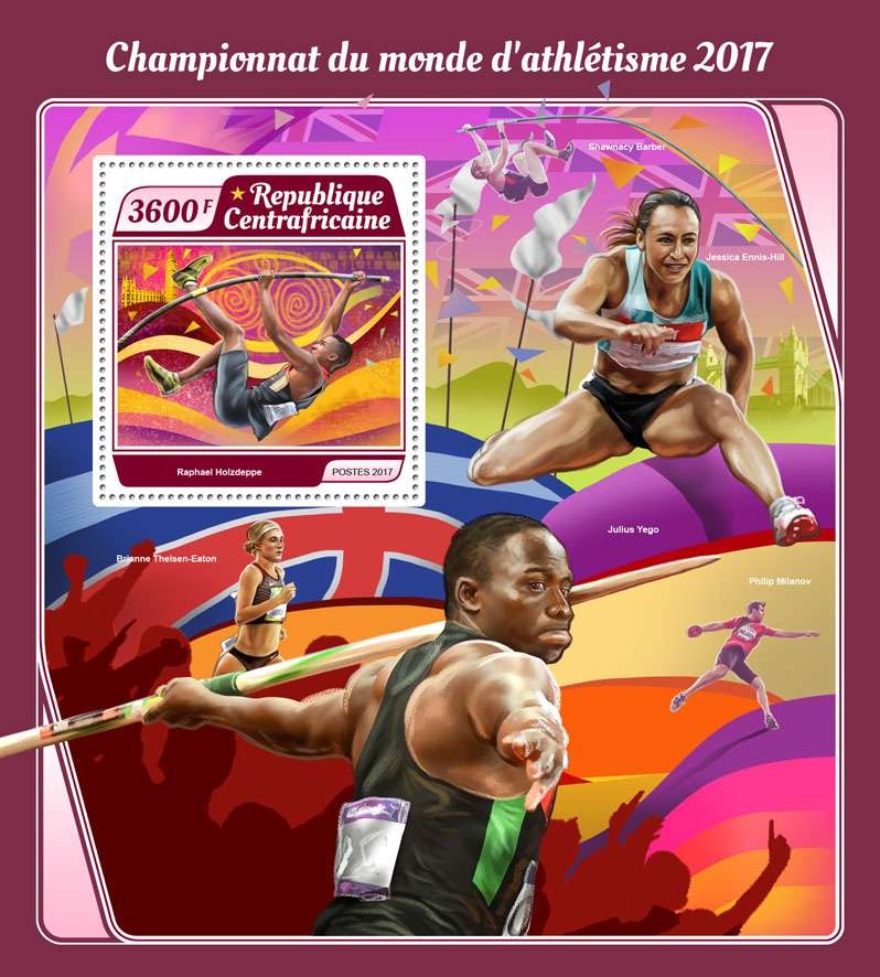 Athletics 2017 - Issue of Central African republic postage stamps