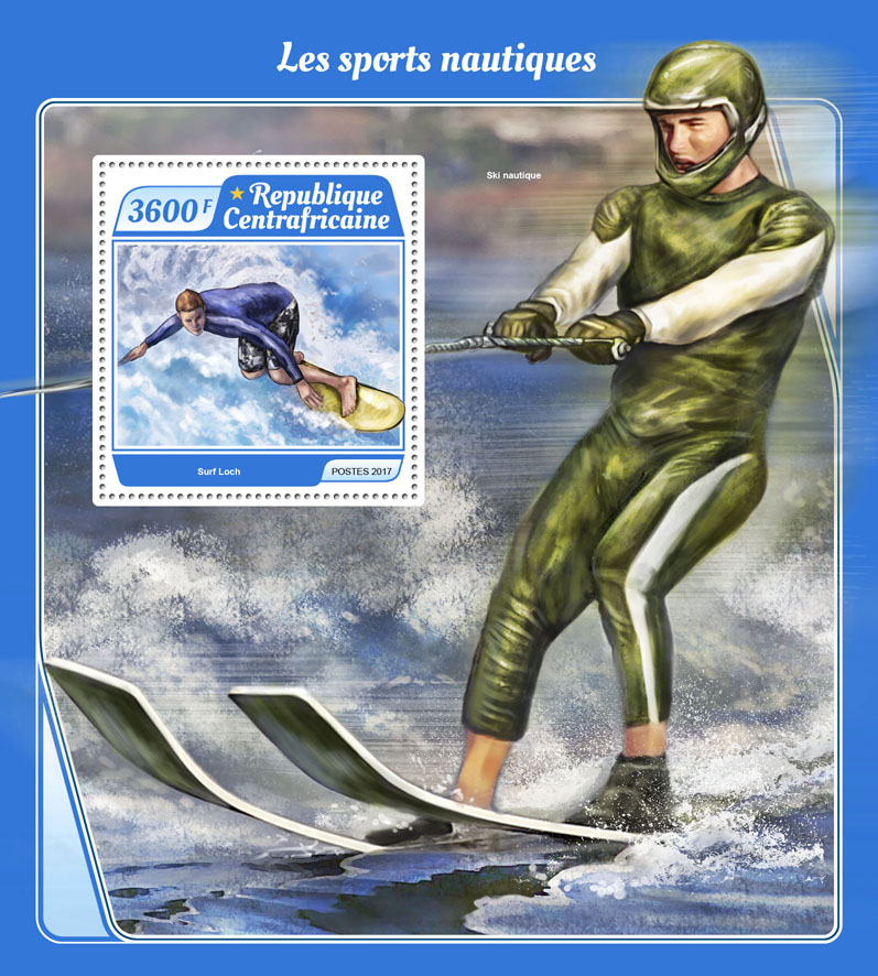 Water sports - Issue of Central African republic postage stamps
