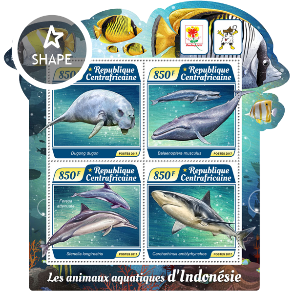 Water animals - Issue of Central African republic postage stamps