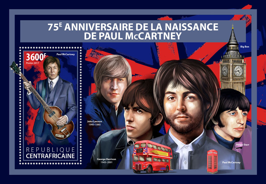 Paul McCartney - Issue of Central African republic postage stamps