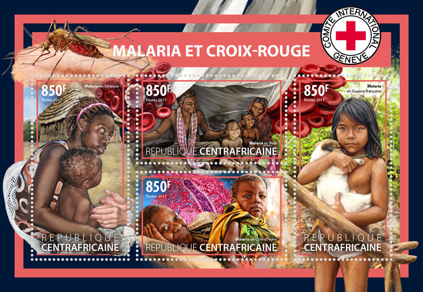 Malaria and Red Cross - Issue of Central African republic postage stamps