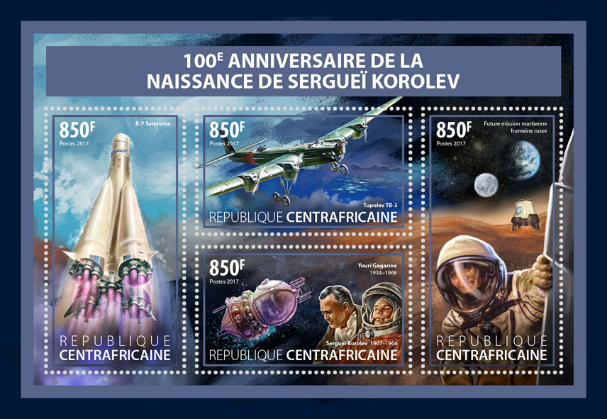 Sergei Korolev - Issue of Central African republic postage stamps