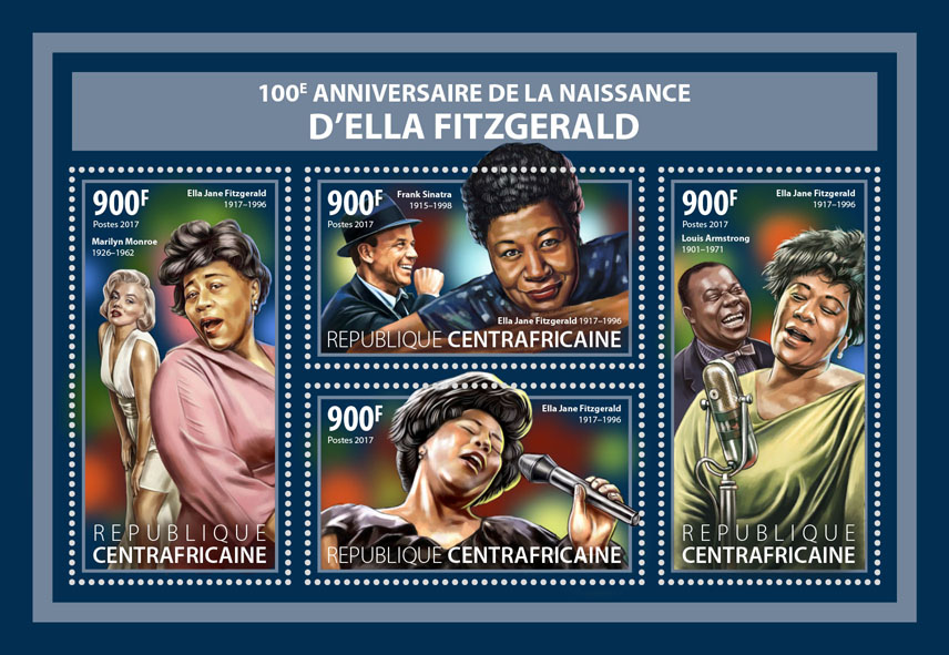 Ella Fitzgerald - Issue of Central African republic postage stamps