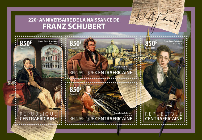 Franz Schubert - Issue of Central African republic postage stamps