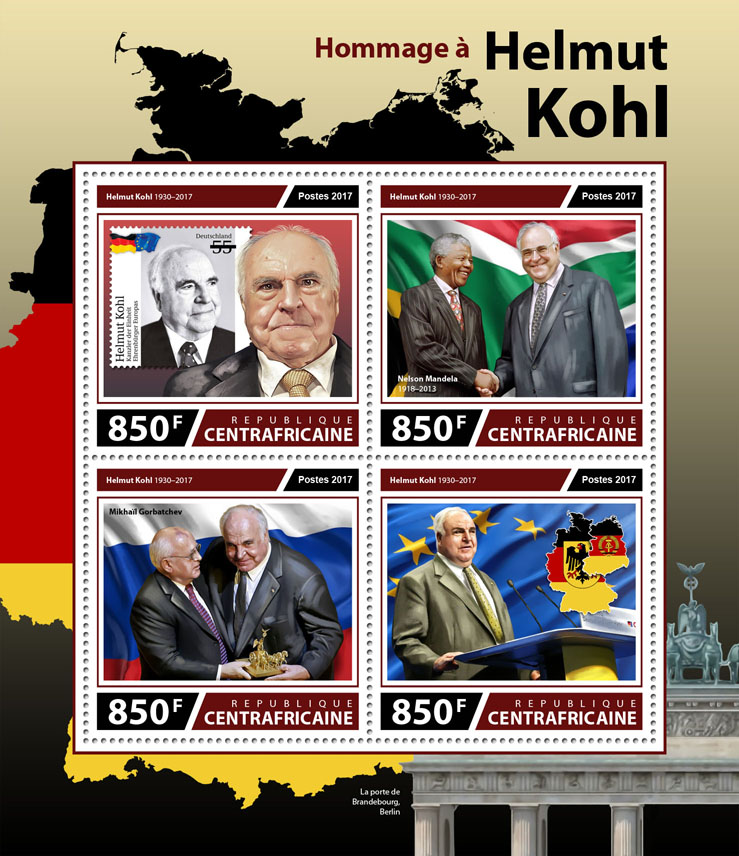 Helmut Kohl - Issue of Central African republic postage stamps