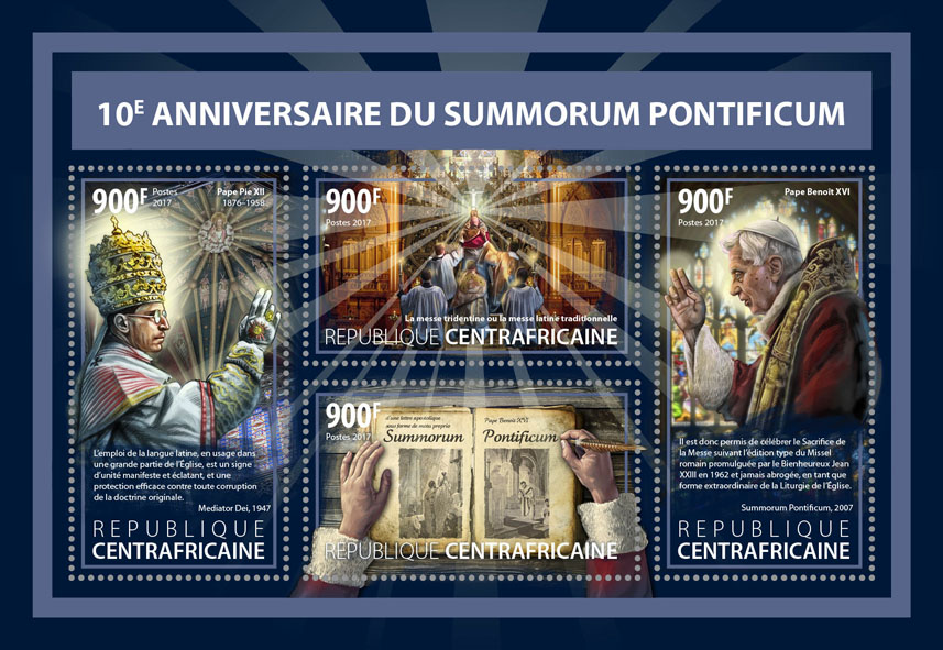 Summorum pontificum - Issue of Central African republic postage stamps