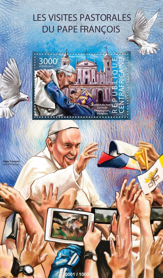 Pope Francis - Issue of Central African republic postage stamps