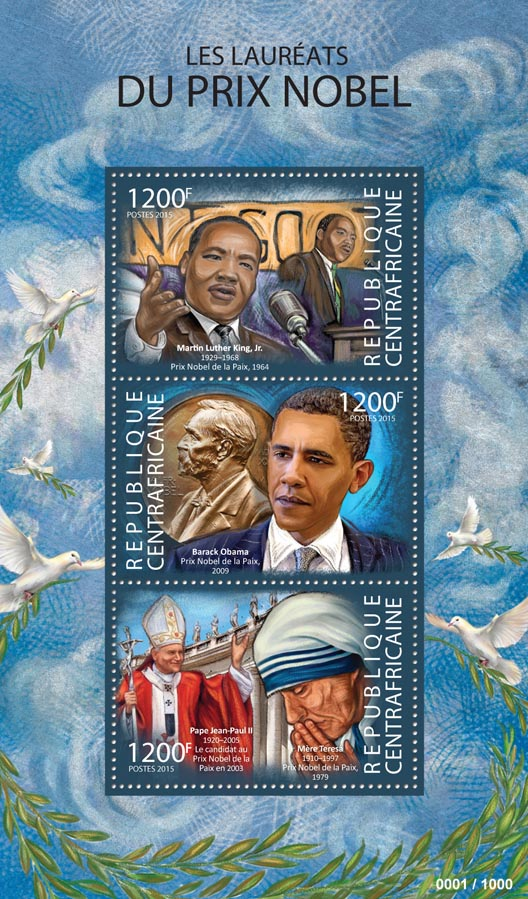 Nobel Prize - Issue of Central African republic postage stamps