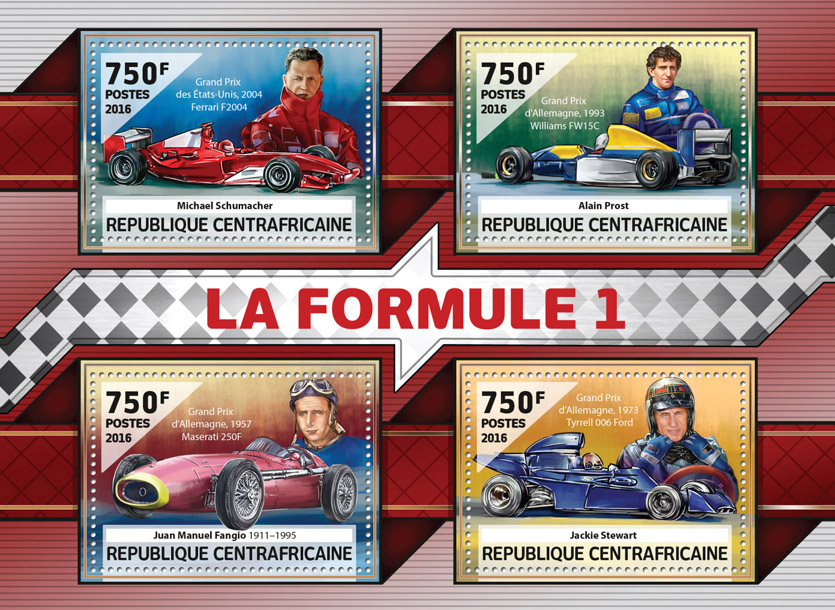 Formula 1 - Issue of Central African republic postage stamps