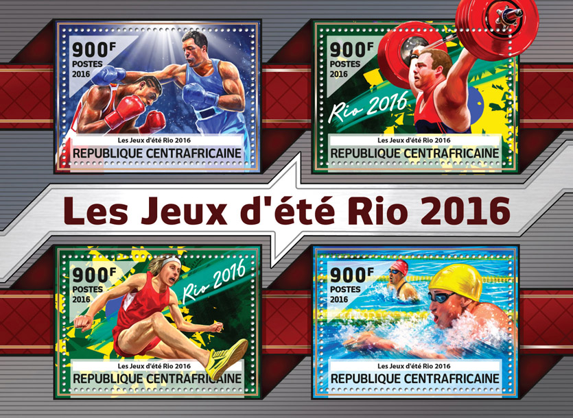 Rio 2016 - Issue of Central African republic postage stamps