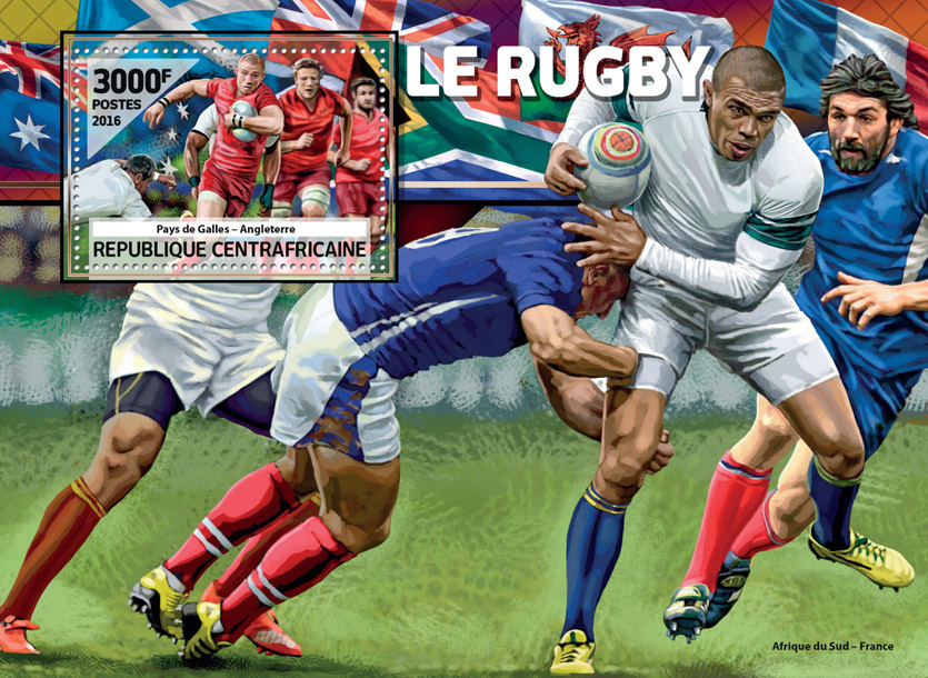 Rugby - Issue of Central African republic postage stamps