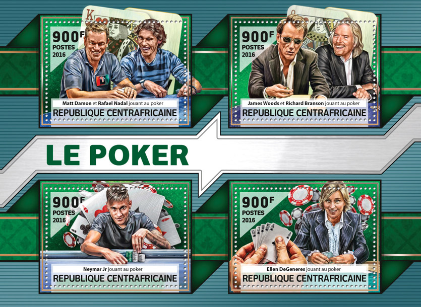 Poker - Issue of Central African republic postage stamps