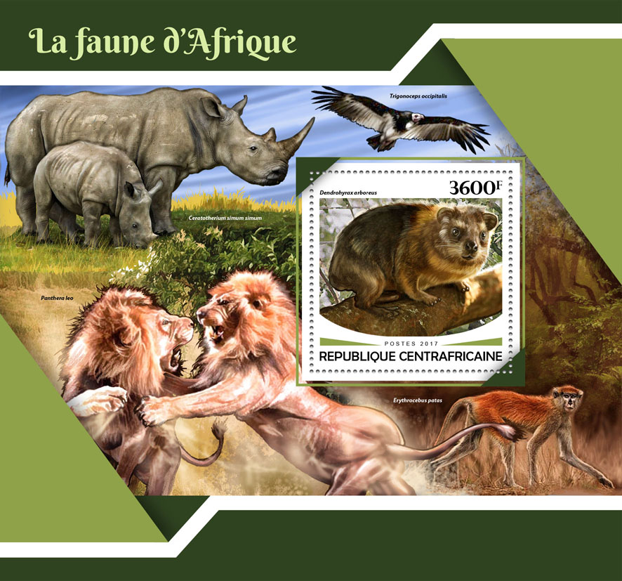 African fauna - Issue of Central African republic postage stamps