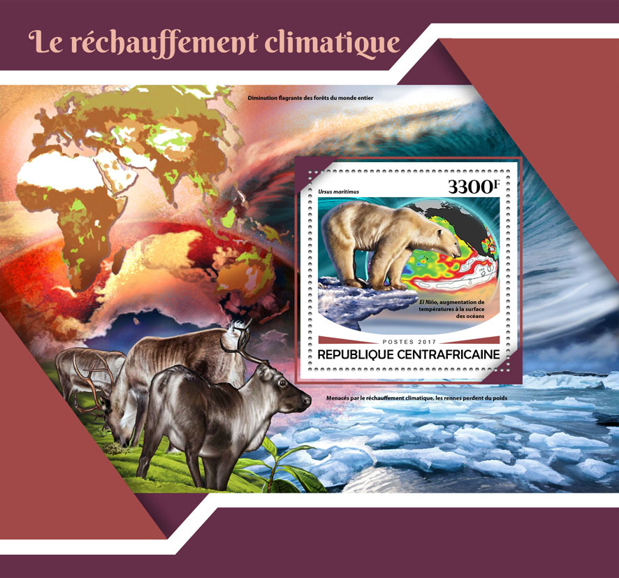 Global warming - Issue of Central African republic postage stamps