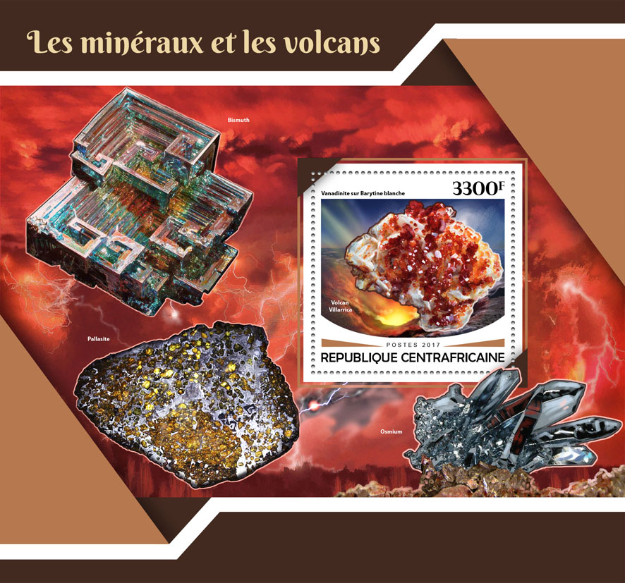 Minerals and volcanoes - Issue of Central African republic postage stamps