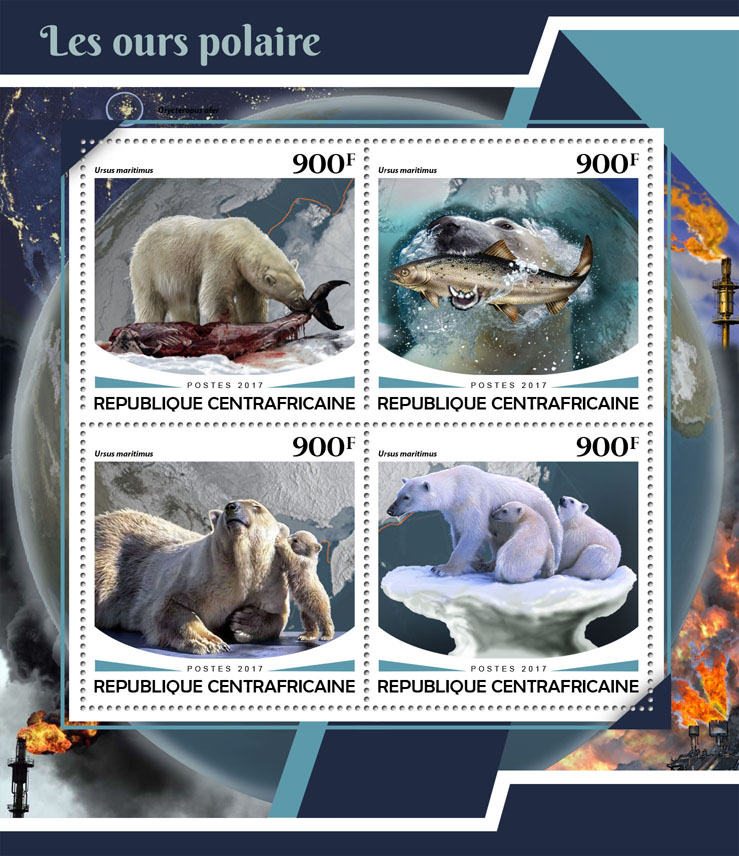 Polar bears - Issue of Central African republic postage stamps