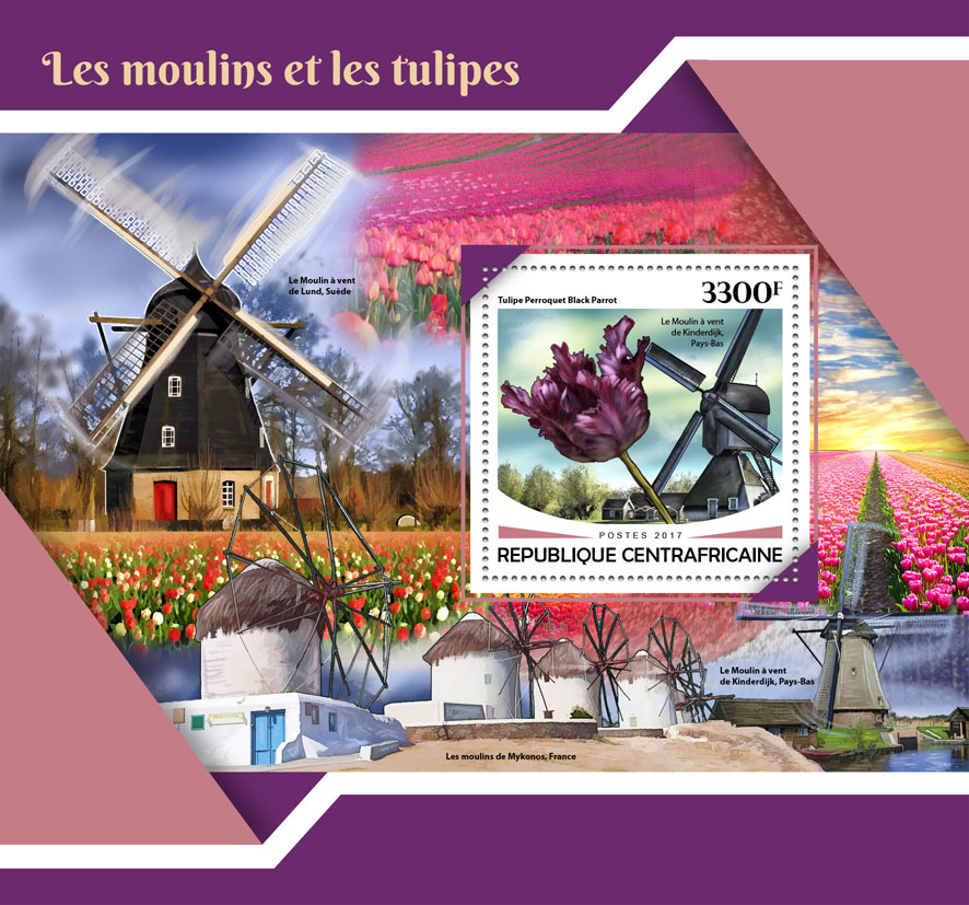 Windmills and tulips - Issue of Central African republic postage stamps