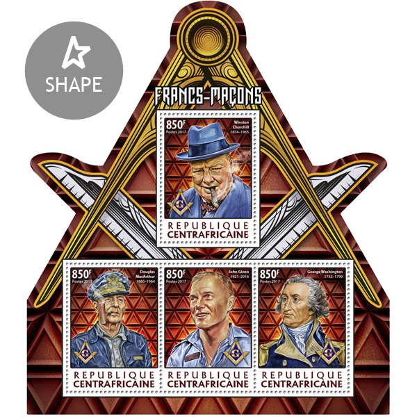 Freemasons - Issue of Central African republic postage stamps