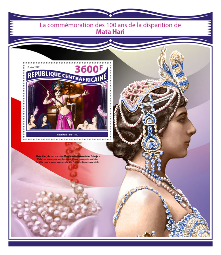 Mata Hari - Issue of Central African republic postage stamps